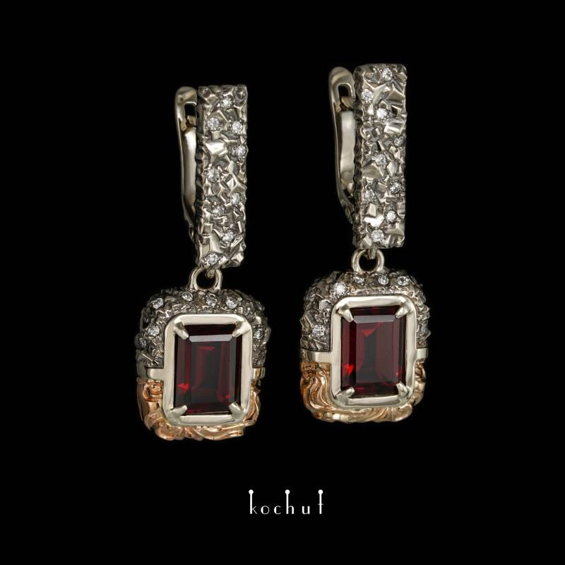 Сережки «Таємниці світобудови». Біле і червоне золото, гранати, діаманти, чорний родій
