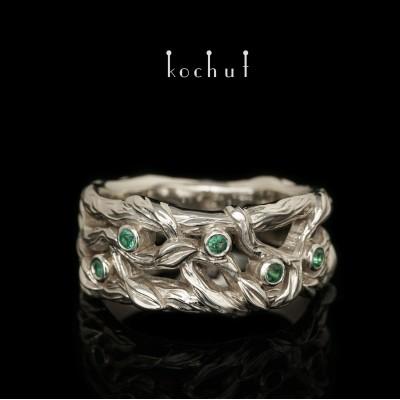 Ring «Forest Veil». White gold, emeralds