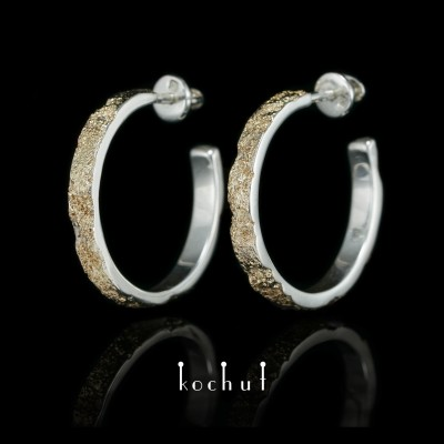 Earrings «Soul and body». Silver, fusing yellow gold