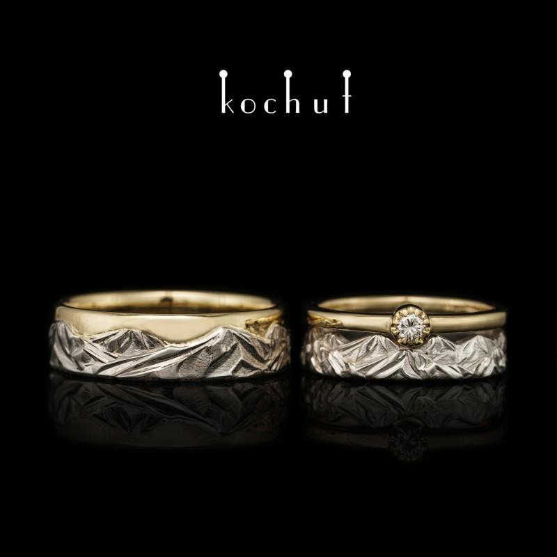 Komplet: zásnubní prsten a snubní prsteny «Vrcholky lásky». Bílé, žluté zlato, briliant, bílé rhodium