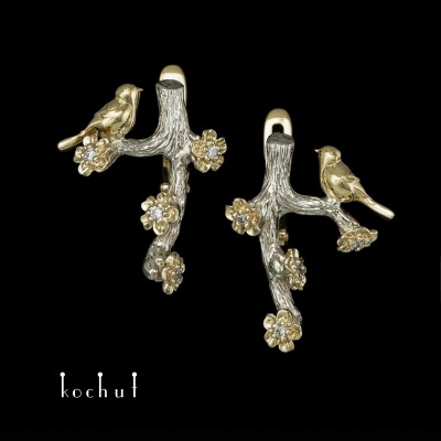 Earrings «Birds and Flowers». White, yellow gold, diamonds