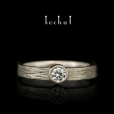 Помолвочное кольцо «Титаны». Белое золото, бриллиант