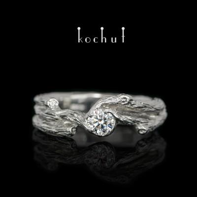 Помолвочное кольцо «Веточка». Платина, бриллиант