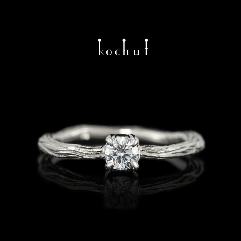 Prsten «Zimní větvička». Palladiové zlato, briliant