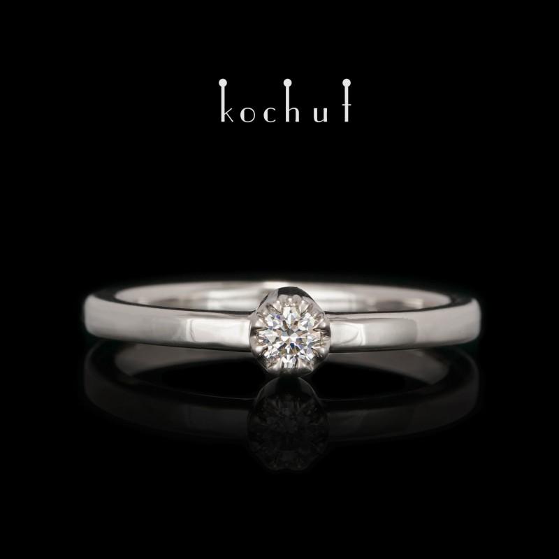 Zásnubní prsten «Vrcholky lásky». Palladiové zlato, briliant