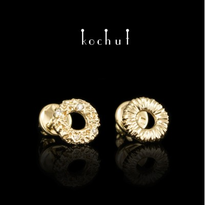 Ear Studs «Space Mirage». Yellow gold, diamonds