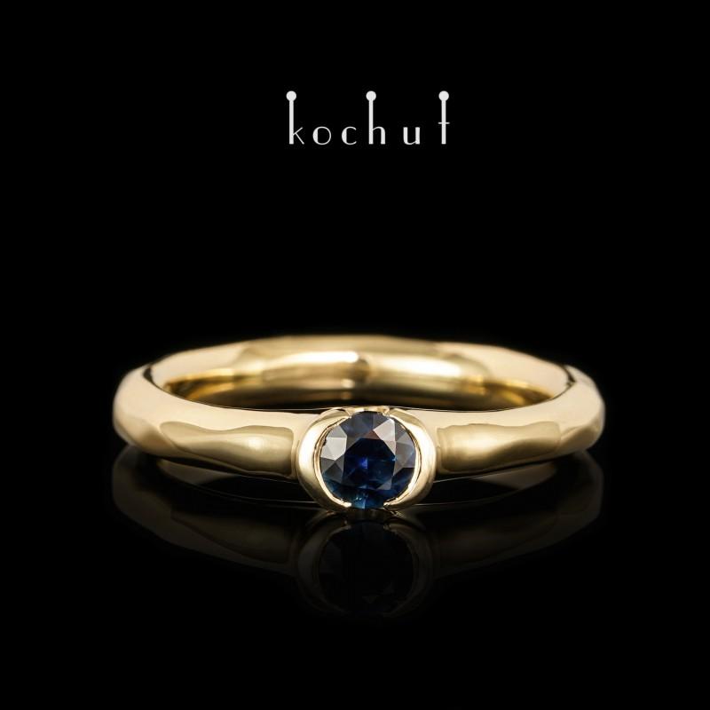 Помолвочное кольцо «Абсолют». Желтое золото 750-й пробы, синий сапфир