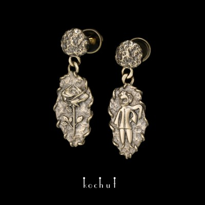Earrings «Little prince». Yellow gold, black rhodium