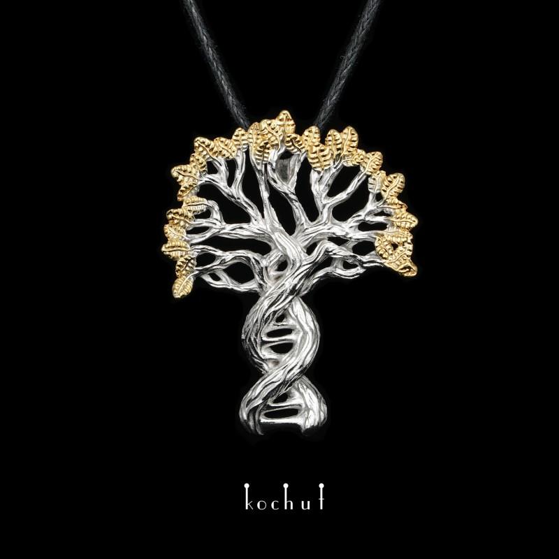 Pendant «The Secret of Future: generations. White gold, white rhodium, gilding