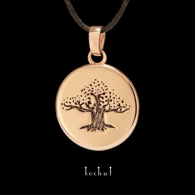 Кулон «Дерево життя». Червоне золото, чорний родій