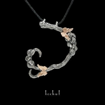 Pendant «Butterfly oflight». Red gold, silver, oxidation