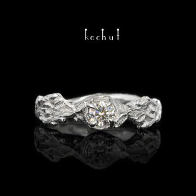 Каблучка на заручини «Паростки». Біле золото, діамант, білий родій