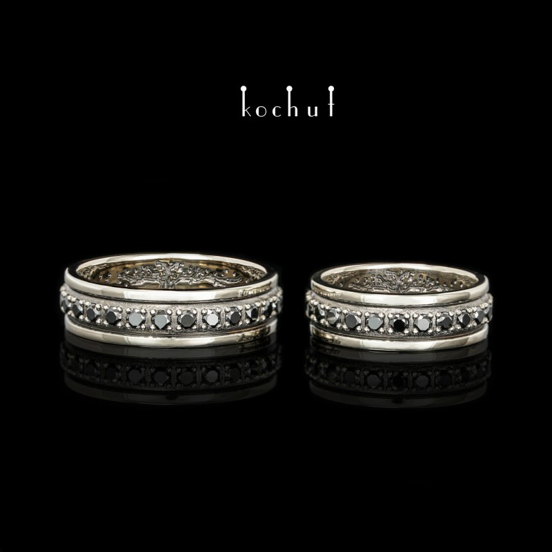 Обручальные кольца «Звездный горизонт» сдеревом жизни внутри. Белое золото, черный родий, черные бриллианты