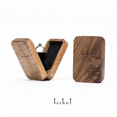 Engagement jewellery box «Twist». Swivel mechanism, walnut, oil