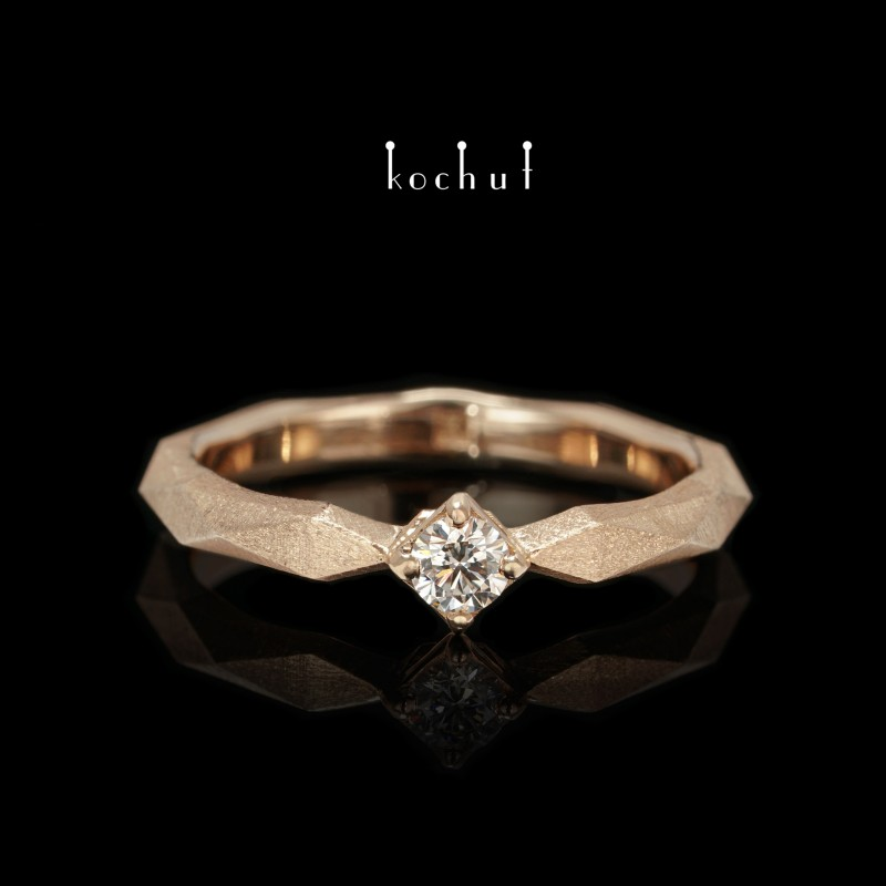 Каблучка на заручини «Моя королева». Червоне золото, діамант