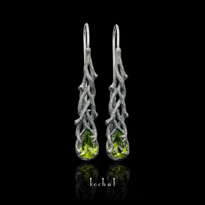 Earrings «Galadriel». Silver, chrysolites, oxidation