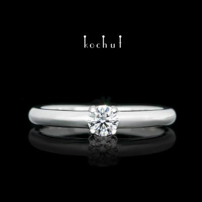 Помолвочное кольцо «Спутница». Белое золото, белый родий, бриллиант