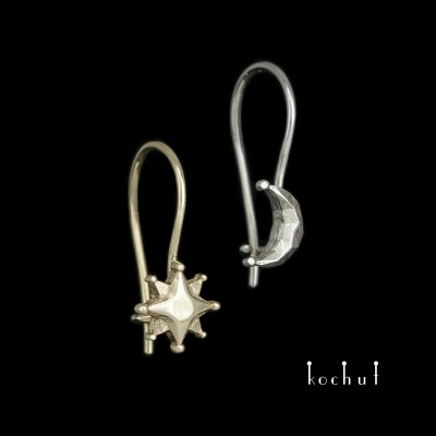 Earrings «Sun and Moon» with a French clasp. White, yellow gold
