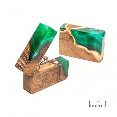 Ring box «Flash» . Wild olive, epoxy resin
