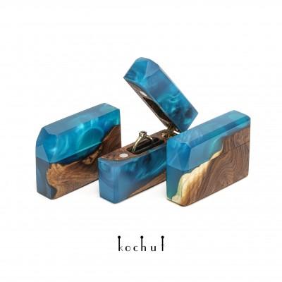 Ring box «Spark» . Wild olive, blue epoxy resin