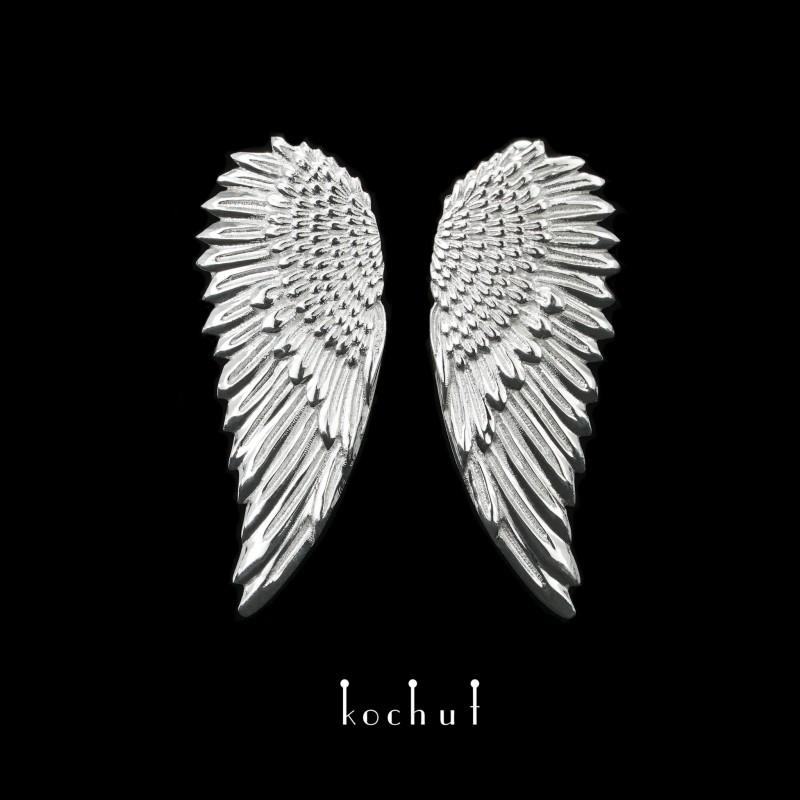 Náušnice «Křídla». Stříbro, bílé rhodium