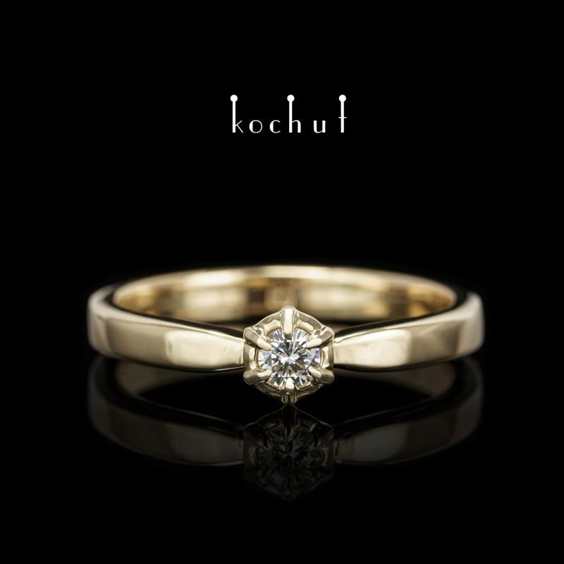 Prsten «Nový úsvit». Žluté zlato, briliant