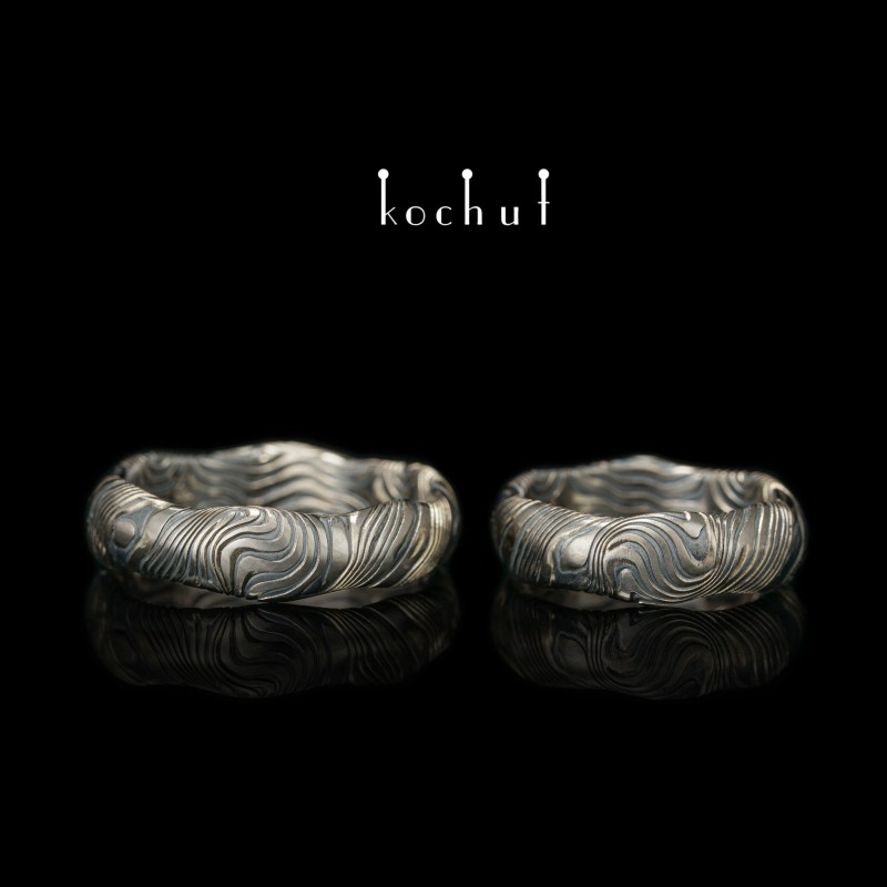 Snubní prsteny mokume «Vlny». Palladiové zlato, leptané stříbro, oxidace