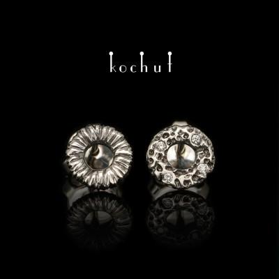 Earrings «Space Mirage». White gold, diamonds, black rhodium