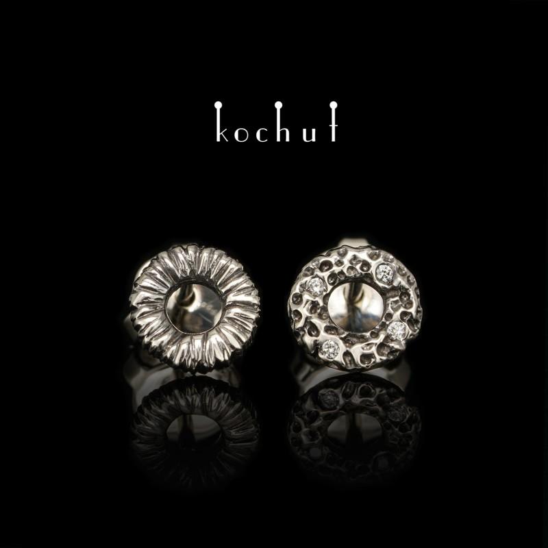 Сережки-пусети «Космічний міраж». Біле золото, діаманти, чорний родій