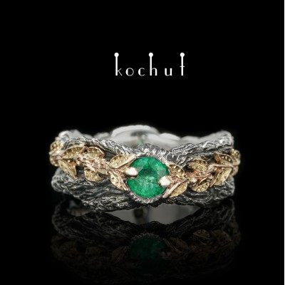 """Ring """"The Power of Life"""". Silver, yellow gold, emerald, oxidation"""