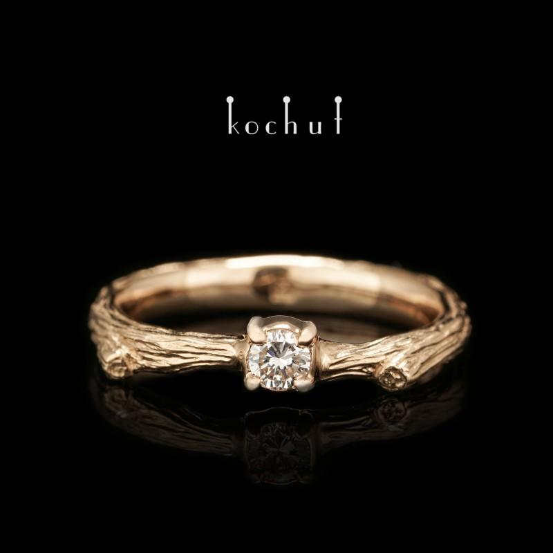 """Каблучка на заручини """"Тендітна гілочка"""". Червоне золото, діамант"""
