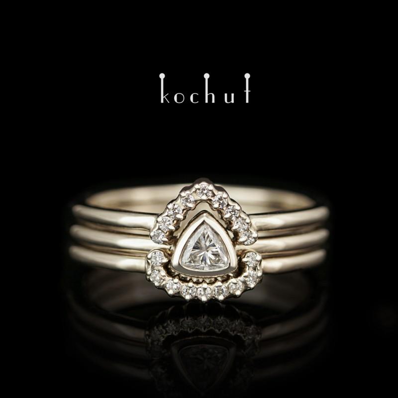 Каблучка на заручини «Меридіана». Біле золото, діаманти