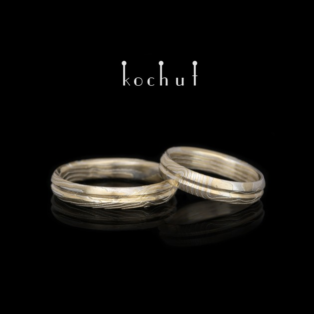 Mokume wedding rings «Axis oflove». Yellow gold, etched silver