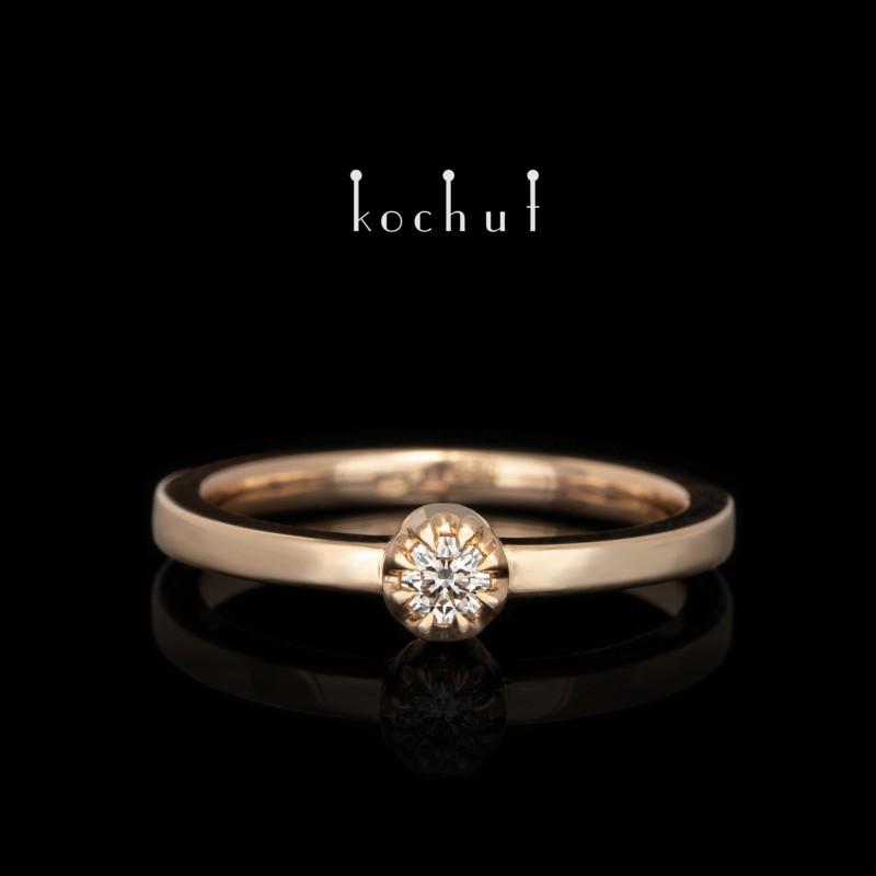 Каблучка на заручини до комплекту «Вершини кохання». Червоне золото, діамант