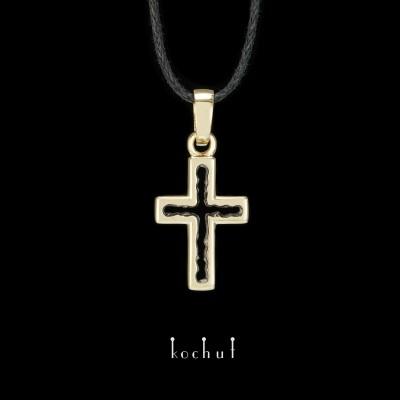 Крестик «Пространство познания». Желтое золото, черный родий
