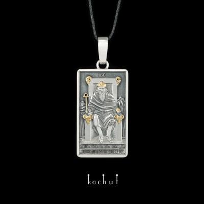 Кулон «Аркан: Імператор». Срібло, оксидування, позолота
