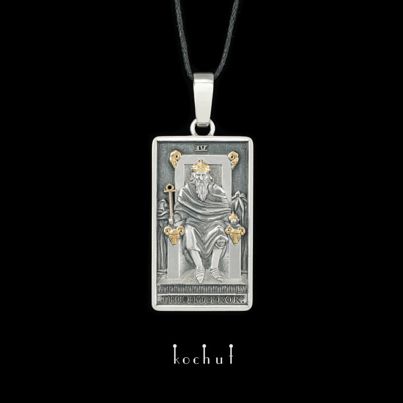Кулон «Аркан: Император». Серебро, оксидирование, позолота