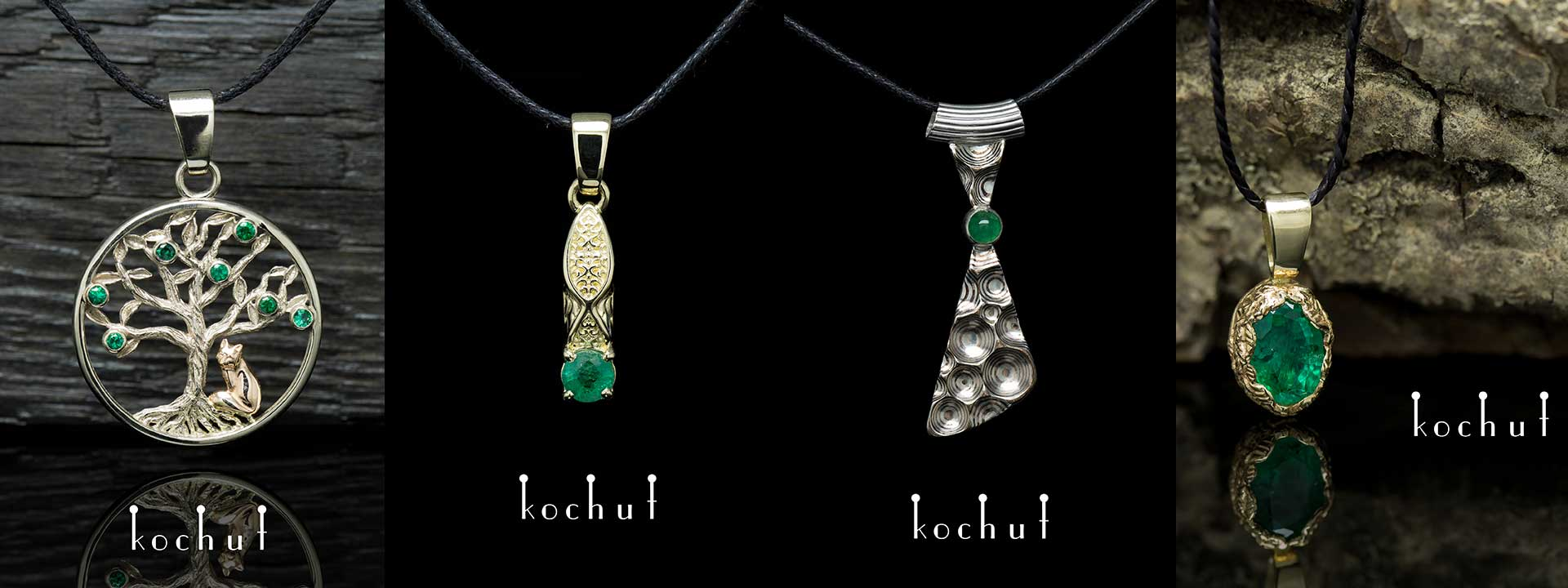 Pendants with emeralds