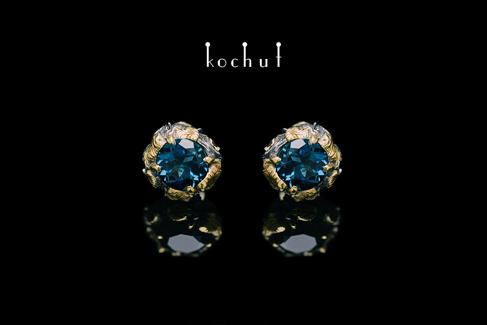 Earrings with a London blue topaz