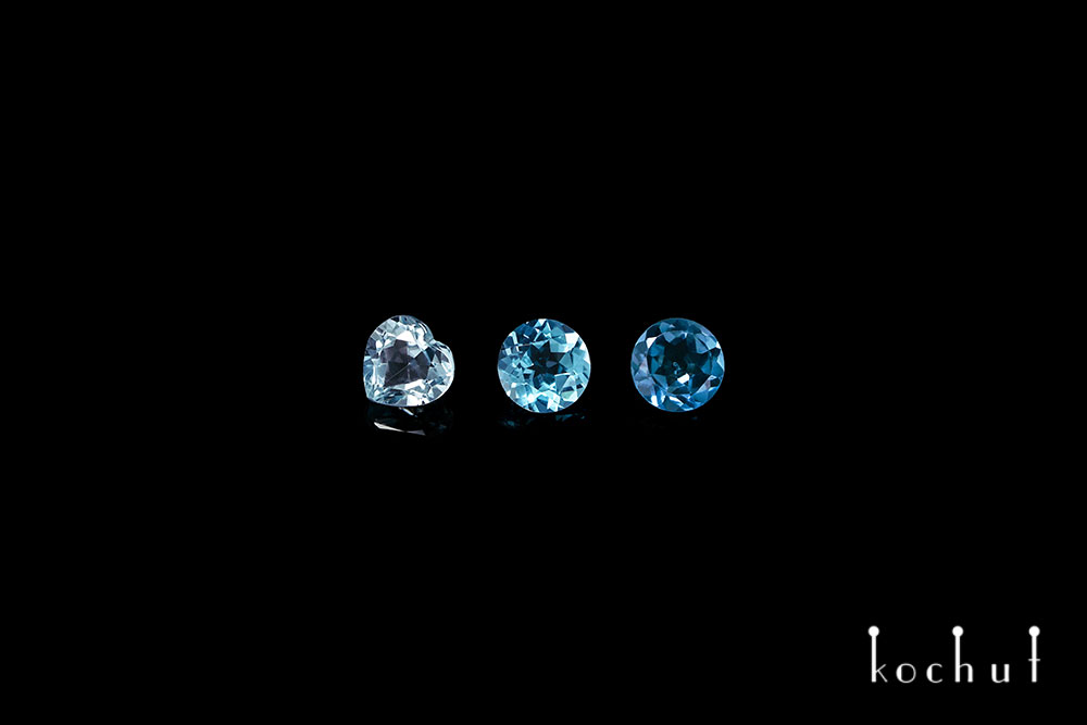 Three shades of blue topaz